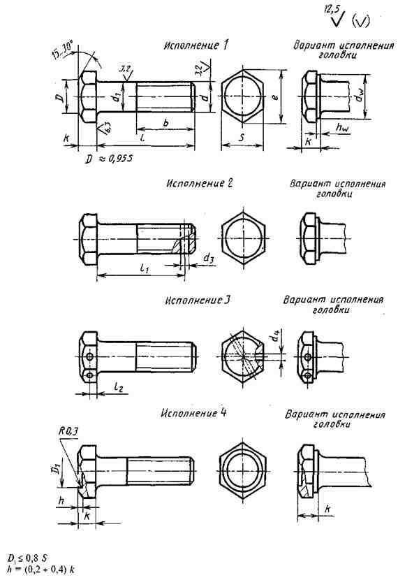 ГОСТ 7805-70 Болты с шестигранной головкой класса точности А