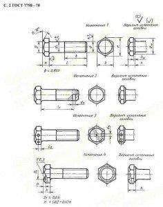 ГОСТ 7798-70 Болты с шестигранной головкой класса точности В