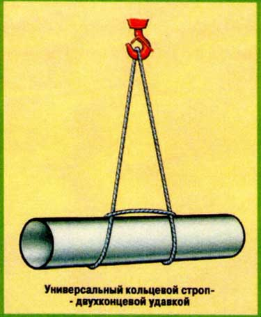Схемы строповки - строповка труб одним стропом на удавку