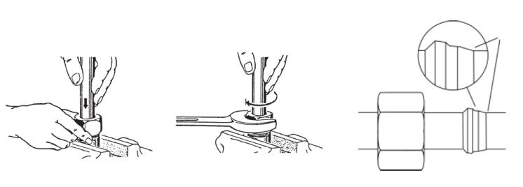 Монтаж резьбовых трубных соединений. Монтаж в штуцере предварительной сборки из закаленного металла