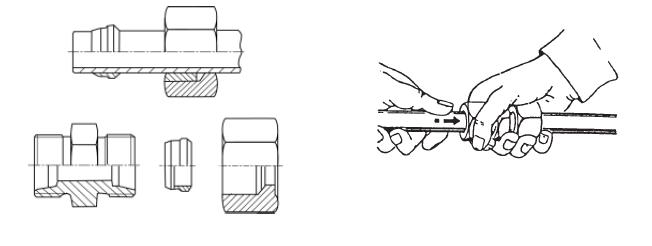 Монтаж резиновых трубных соединений. Монтаж в резьбовом штуцере