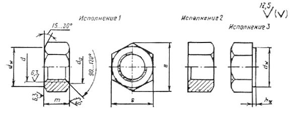 ГОСТ 5915-70 Гайки шестигранные класса точности В. Конструкция и размеры