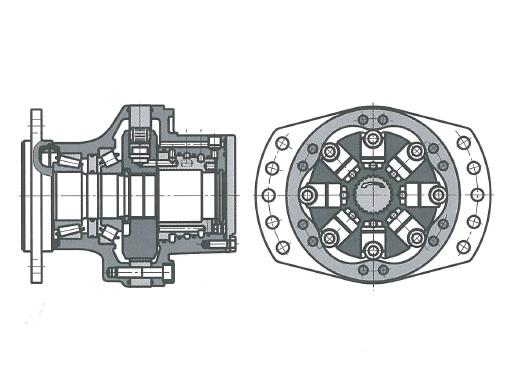 Многотактный радиально-поршневой гидромотор с внешней опорой поршней