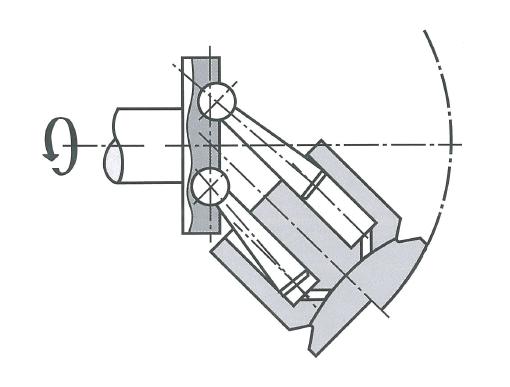 Аксиально-поршневой гидромотор с наклонным блоком