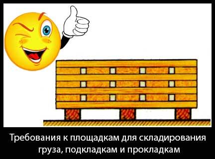 Требования к площадкам для складирования груза, подкладкам и прокладкам