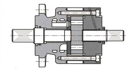 Тихоходный гидромотор с планетарными шестернями и двусторонним валом