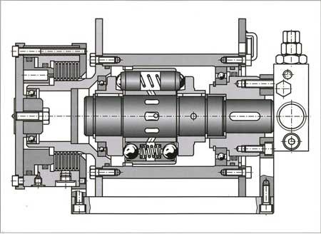 Лебедка (ворот) в сборе — тросовый барабан выполняет функцию корпуса для встраиваемого гидромотора