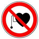 Запрещающие знаки. Запрещается работа (присутствие) людей со стимуляторами сердечной деятельности