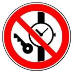 Запрещающие знаки. Запрещается иметь при (на) себе металлические предметы (часы и т.п.)