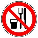 Запрещающие знаки. Запрещается принимать пищу