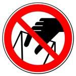 Запрещающие знаки. Запрещается брать руками. Сыпучая масса (Непрочная упаковка)