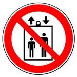 Запрещающие знаки. Запрещается пользоваться лифтом для подъема (спуска) людей
