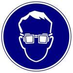 Предписывающие знаки. Работать в защитных очках