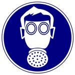 Предписывающие знаки. Работать в средствах индивидуальной защиты органов дыхания