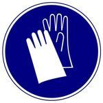 Предписывающие знаки. Работать в защитных перчатках